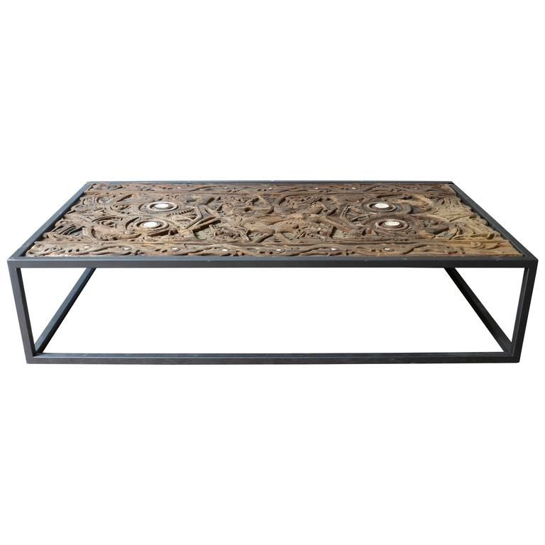 Coffee Table With Old Top From A Kalimantan Door And Glass Cover At 1stdibs