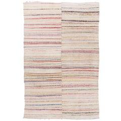 Vintage Cotton Rag Rug. Flat-Weave Kilim. Reversible Floor Covering. Custom Size