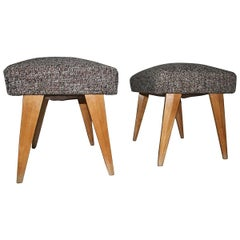 Pair of 1950s Stools with Geometric Cut Italian Design