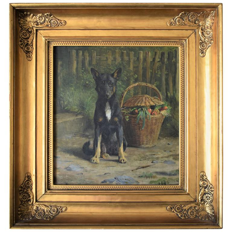 19th Century, a Dog Poses next to a Basket by Oluf August Hermansen, 1882