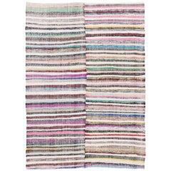 Vintage Cotton Rag Rug from Turkey. Flat-Weave Kilim. Reversible Floor Covering