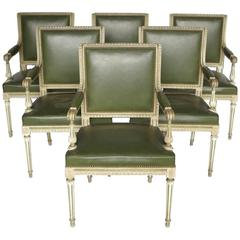 Set of Six Louis XVI Style Cream and Green Lacquer Armchairs, Maison Jansen Mode