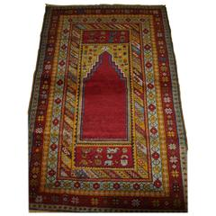 Antique Anatolian Kirsehir Village Prayer Rug of Traditional Design