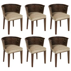 Majorelle Six Grey Cerused Oak Barrel Chairs Art Deco, France, 1920s-1930s