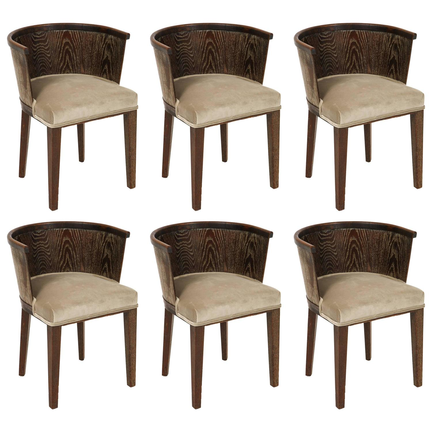 Majorelle Six Grey Cerused Oak Barrel Chairs Art Deco France 1920s 1930s