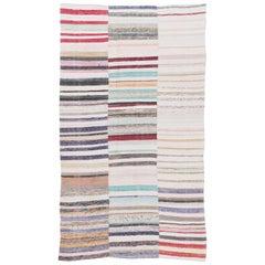 Colorful Striped Cotton Kilim Rug