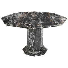 Black Portoro Octagon Marble Dining Table with White Brown Veins, 1970s, France