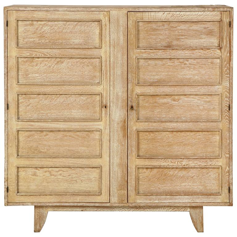 Cerused French Oak Kitchens And Cabinets: Jean Royere Deco Cerused Oak Cabinet France, 1940s, Mid