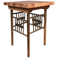 Rare Viennese Secession Brass Plant Stand with Marble Top Koloman Moser Style