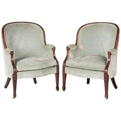 Pair of George III Period Mahogany Framed Bergère Chairs