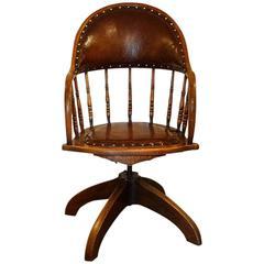 Edwardian Oak Revolving Desk Chair