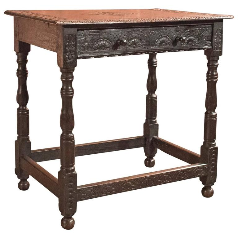 Antique Hall Table, Georgian Carved Oak, Circa 1800 For Sale