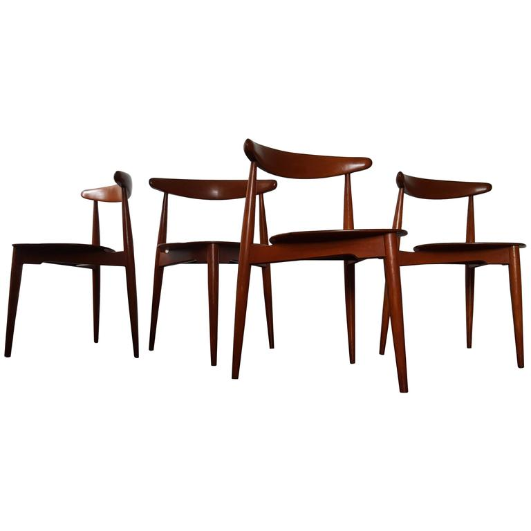 Set Of Four Hans J. Wegner U0027Heartu0027 Chairs For Fritz Hansen ...