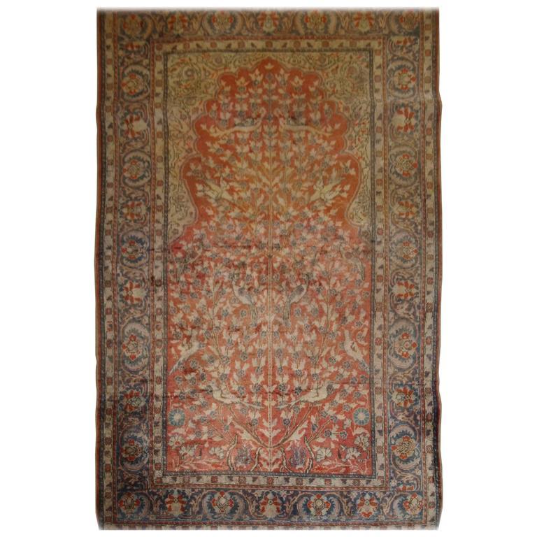 Antique Anatolian Kayseri u0027Art Silku0027 Prayer Rug