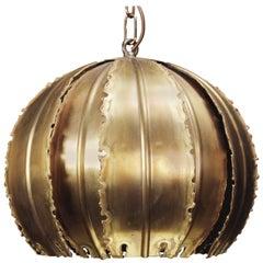 Holm Sorensen Danish Modern Brutalist Golden Brass Poppy Pendant, 1960s
