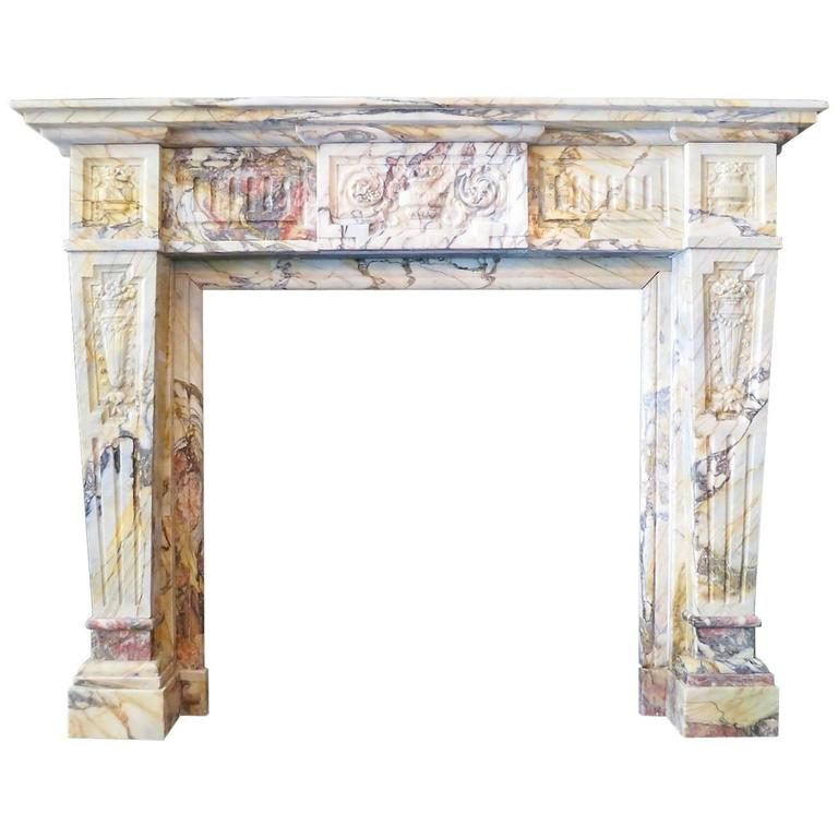 Antique Sarrancolin Marble French Fireplace Mantel 1