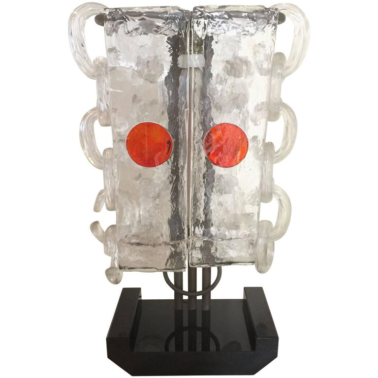 Ettore Sottsass Big Marble and Glass Table Lamp, Murano, 1970s