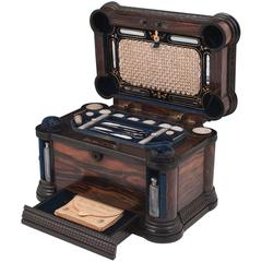 Unique Extremely Rare Victorian Coromandel Mechanical Sewing Box