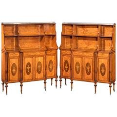 Pair of Late 19th Century Satinwood Dwarf Cabinets