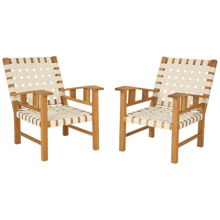 Francis Jourdain Webbed Oak Chairs For Sale
