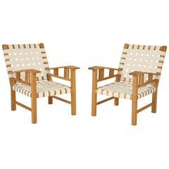 Francis Jourdain Webbed Oak Chairs