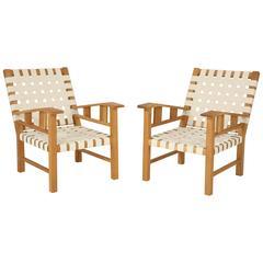 Francis Jourdain Webbed Oak Chairs