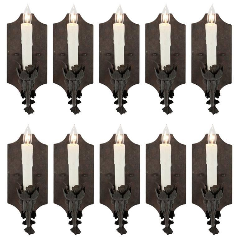 Ten French Iron Single Arm Sconces