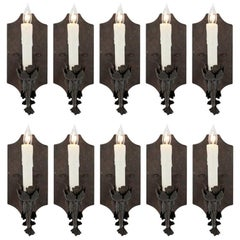Ten French Iron Single Arm Sconces