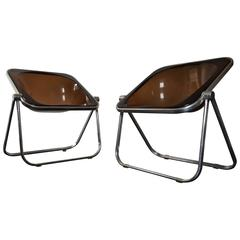 Amazing Pair of Plona Folding Chairs Designed by Giancarlo Piretti for Castelli