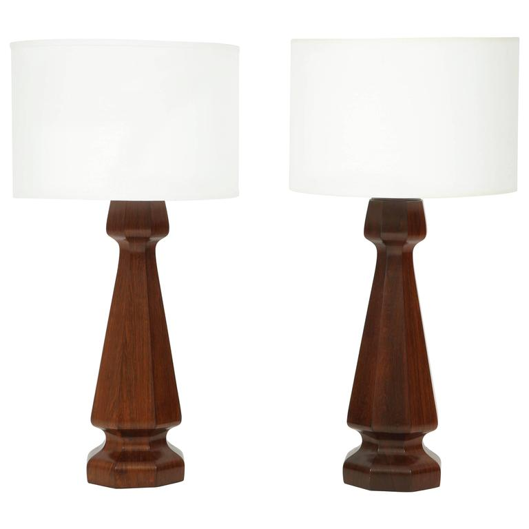 Large rosewood column lamps For Sale