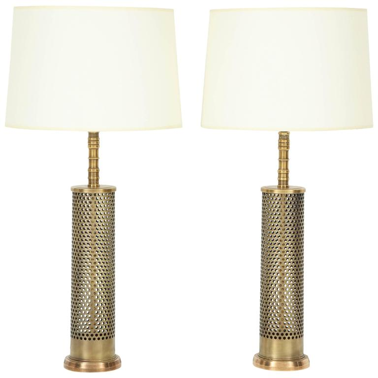 Pair of Studio Bronze Lamps For Sale