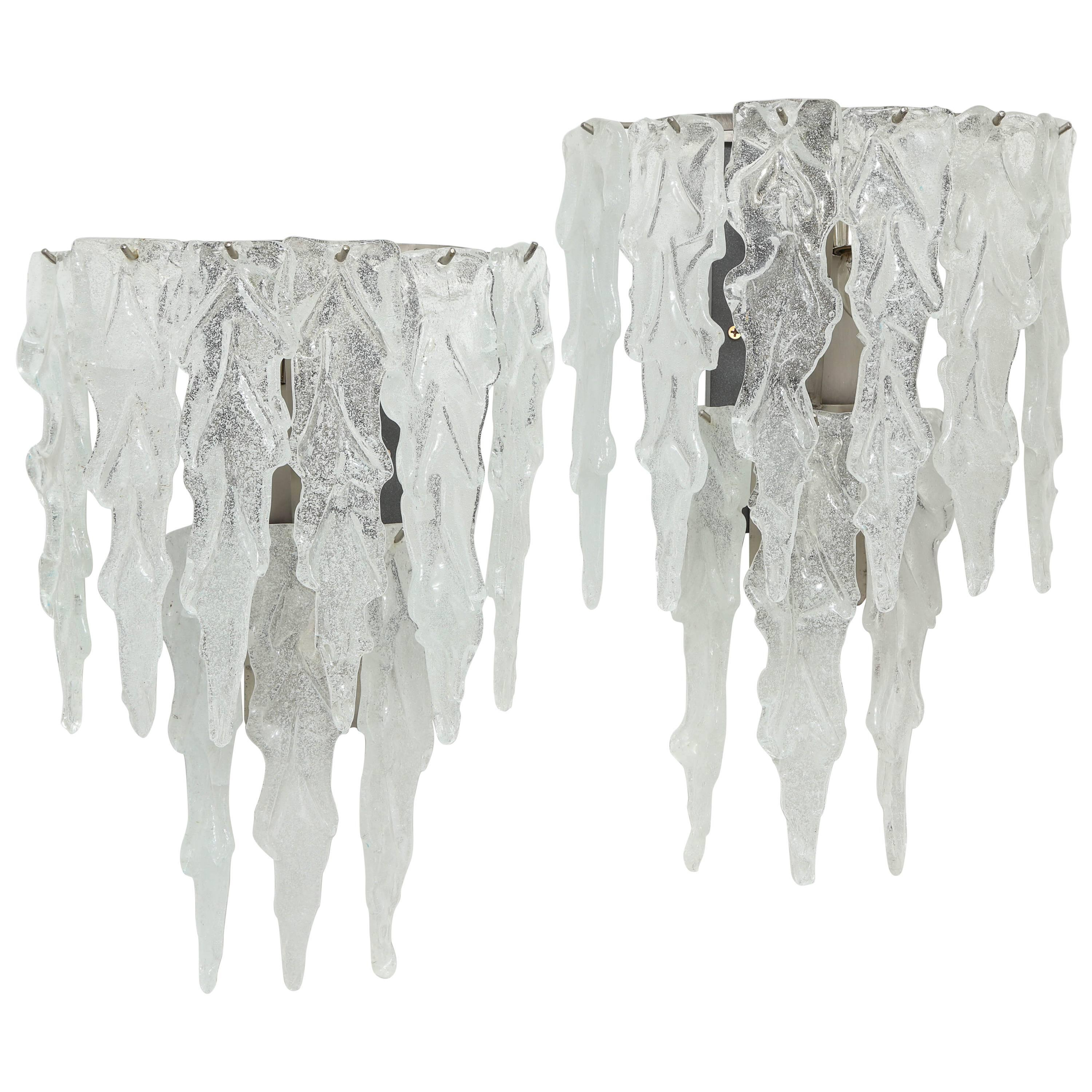 Pair of Murano Icicle Glass Sconces