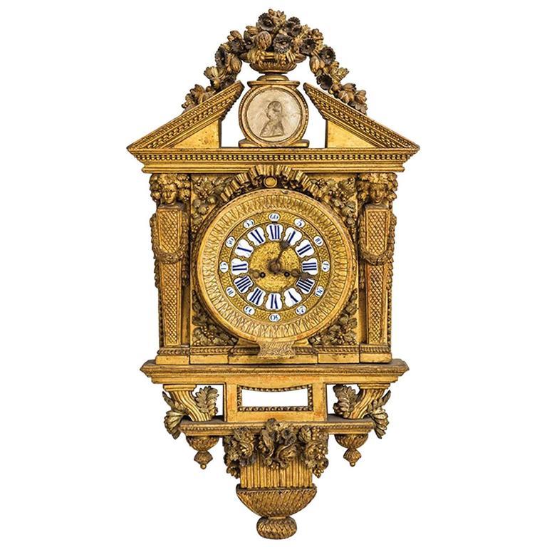 18th Century Italian Cartel Clock by Johannes Bapta