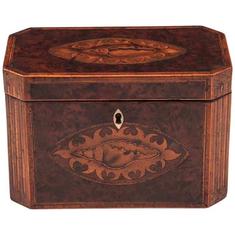 Antique Georgian Burr Yew Tea Caddy For Sale