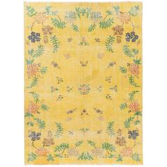 Exquisite Turkish Deco Rug in Canary Yellow Color