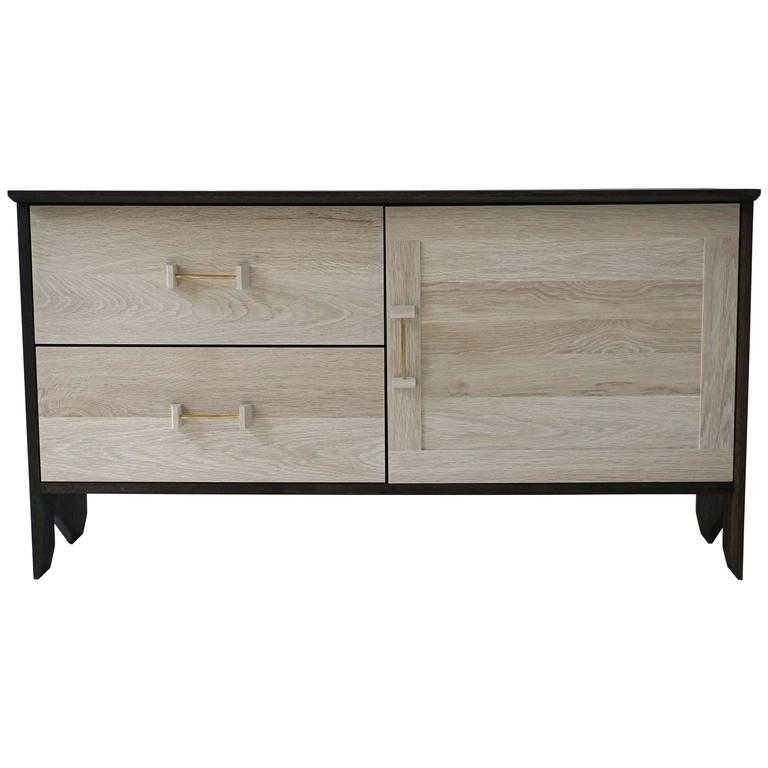 Phoebe Credenza Modern Sideboard in Bleached and Oxidized White Oak Brass Pull For Sale