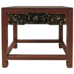 Vintage Chinese Red Lacquered Rectangular Side Table with Carving Apron