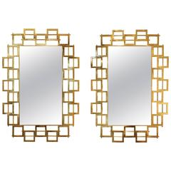 Pair of Large Gilt Brass Modern Mirrors