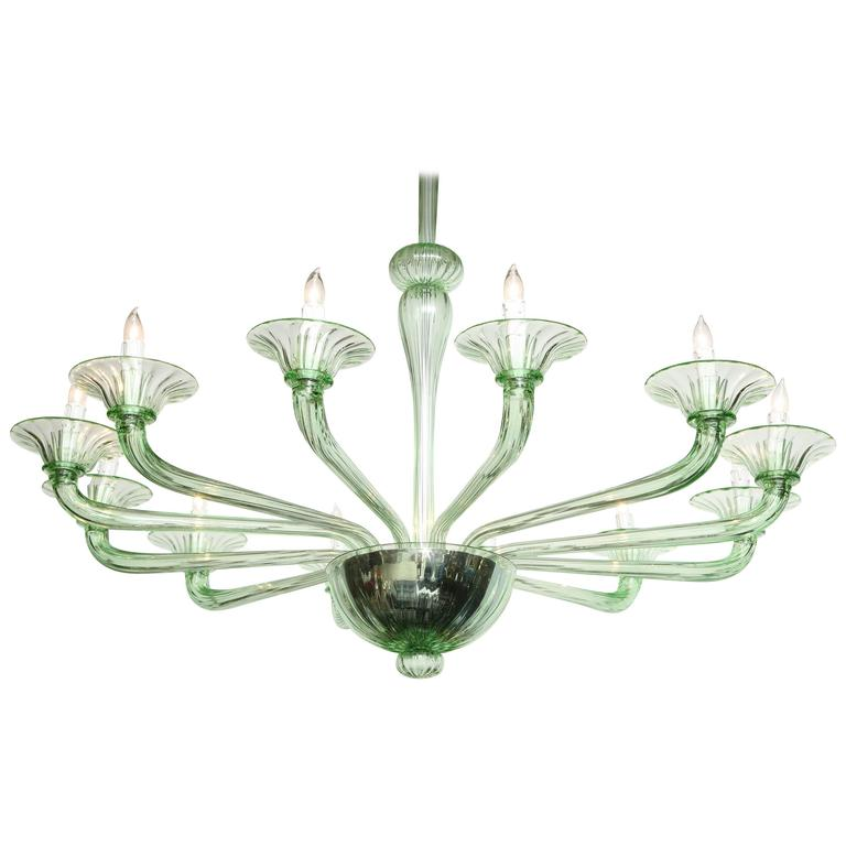 Rare Mid-Century Green Murano Glass Chandelier in the Manner of Venini 2