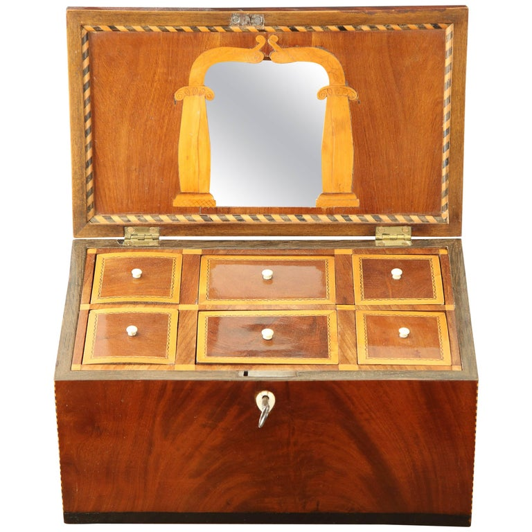 Danish Empire Mahogany and Inlaid Box, Early 19th Century For Sale
