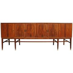 Agner Christoffersen Rosewood and White Metal Inlaid Sideboard