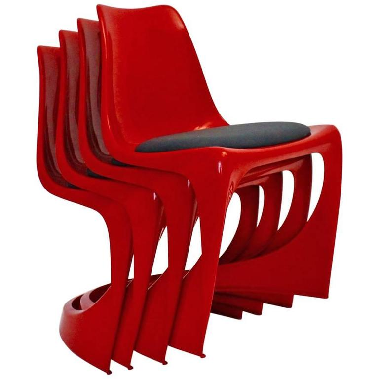 Red Plastic Chairs by Steen Ostergaard, 1966, Denmark