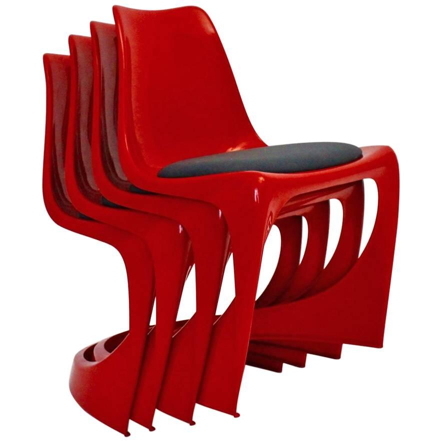 Space Age Red Plastic Vintage Chairs by Steen Ostergaard, 1966, Denmark