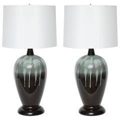 Danish Modern Ombre Drip Glazed Lamps