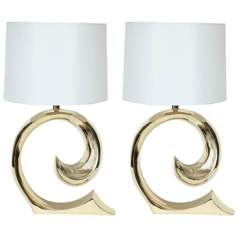 Erwin Lambeth, Cardin Logo Brass Lamps For Sale