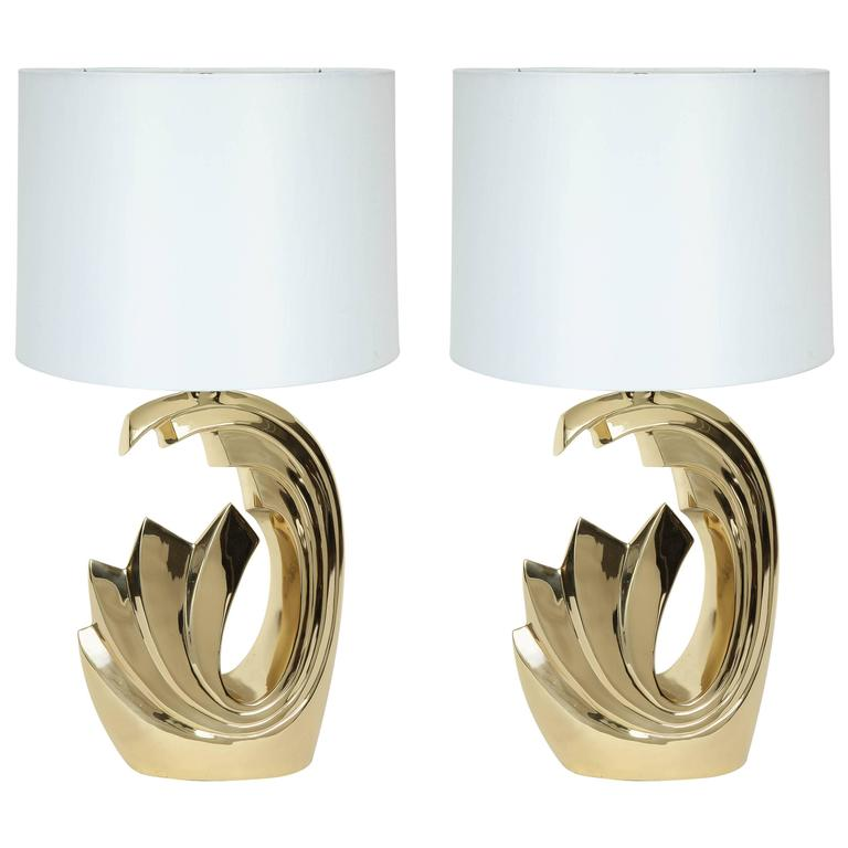 "Pierre Cardin Brass ""Wave"" Lamps For Sale"