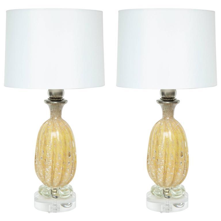 Barovier Honey Colored Murano Glass Lamps