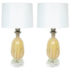 Barovier Honey Colored Murano Glass Lamps