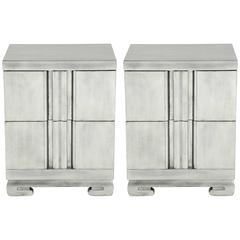 James Mont Influenced Silver Leaf Nightstands
