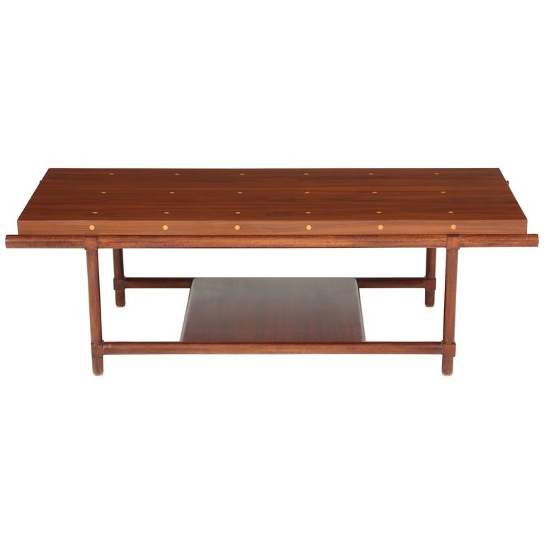 Tommi Parzinger Inlay Walnut Coffee Table